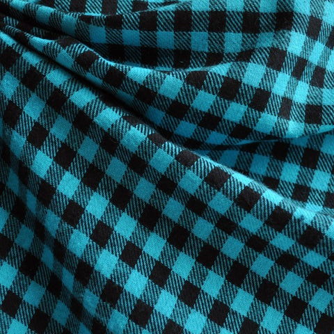 Cotton Flannel Shepherd's Check Turquoise/Black