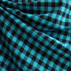 Cotton Flannel Shepherd's Check Turquoise/Black - Fabric - Style Maker Fabrics