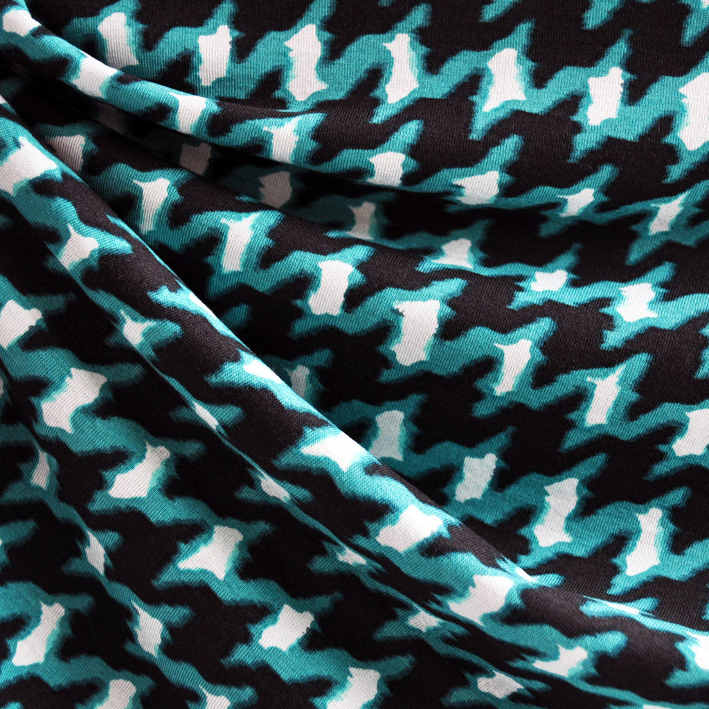 Jersey Knit Abstract Houndstooth Black/Teal SY - Selvage Yard - Style Maker Fabrics