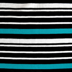 Jersey Knit Stripe Black/White/Turq - Sold Out - Style Maker Fabrics