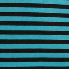 Jersey Knit Bengal Stripe Black/Turquoise - Sold Out - Style Maker Fabrics
