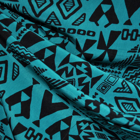 Peachskin Tribal Print Black/Teal SY