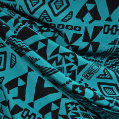 Peachskin Tribal Print Black/Teal - Fabric - Style Maker Fabrics