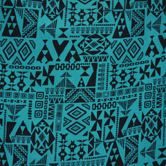 Geometric Block Print Peachskin Black/Teal - Sold Out - Style Maker Fabrics