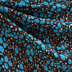 Rayon Challis Ditsy Floral Black/Teal - Fabric - Style Maker Fabrics