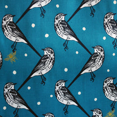 Echino Cotton Sateen Atori Birds Teal - Fabric - Style Maker Fabrics