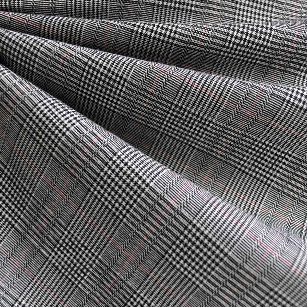 Glen Plaid Suiting Black/White/Red - Sold Out - Style Maker Fabrics