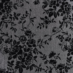 Flocked Floral Herringbone Suiting Grey/Black - Sold Out - Style Maker Fabrics