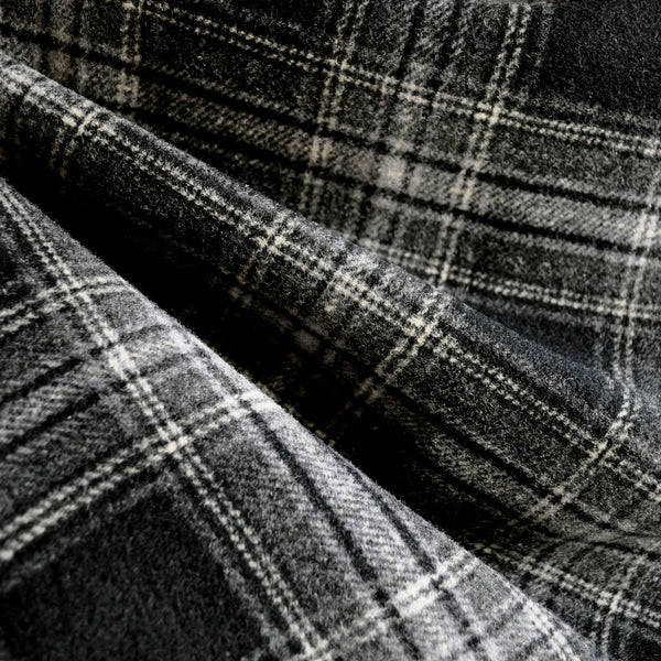 Double Faced Plaid Wool Coating Charcoal Black Style