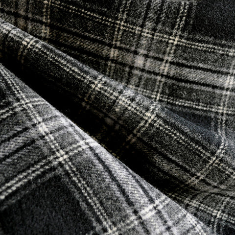 Double-Faced Plaid Wool Coating Charcoal/Black