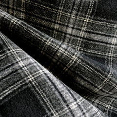 Double-Faced Plaid Wool Coating Charcoal/Black - Fabric - Style Maker Fabrics