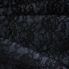 Lace Overlaid Denim Black/Denim - Sold Out - Style Maker Fabrics