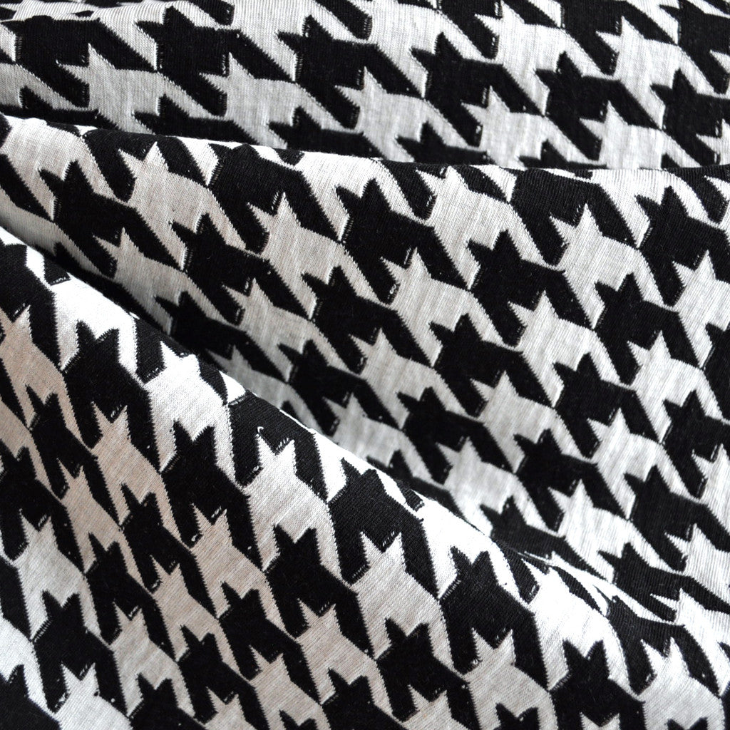 Large Houndstooth Double Knit White/Black - Sold Out - Style Maker Fabrics
