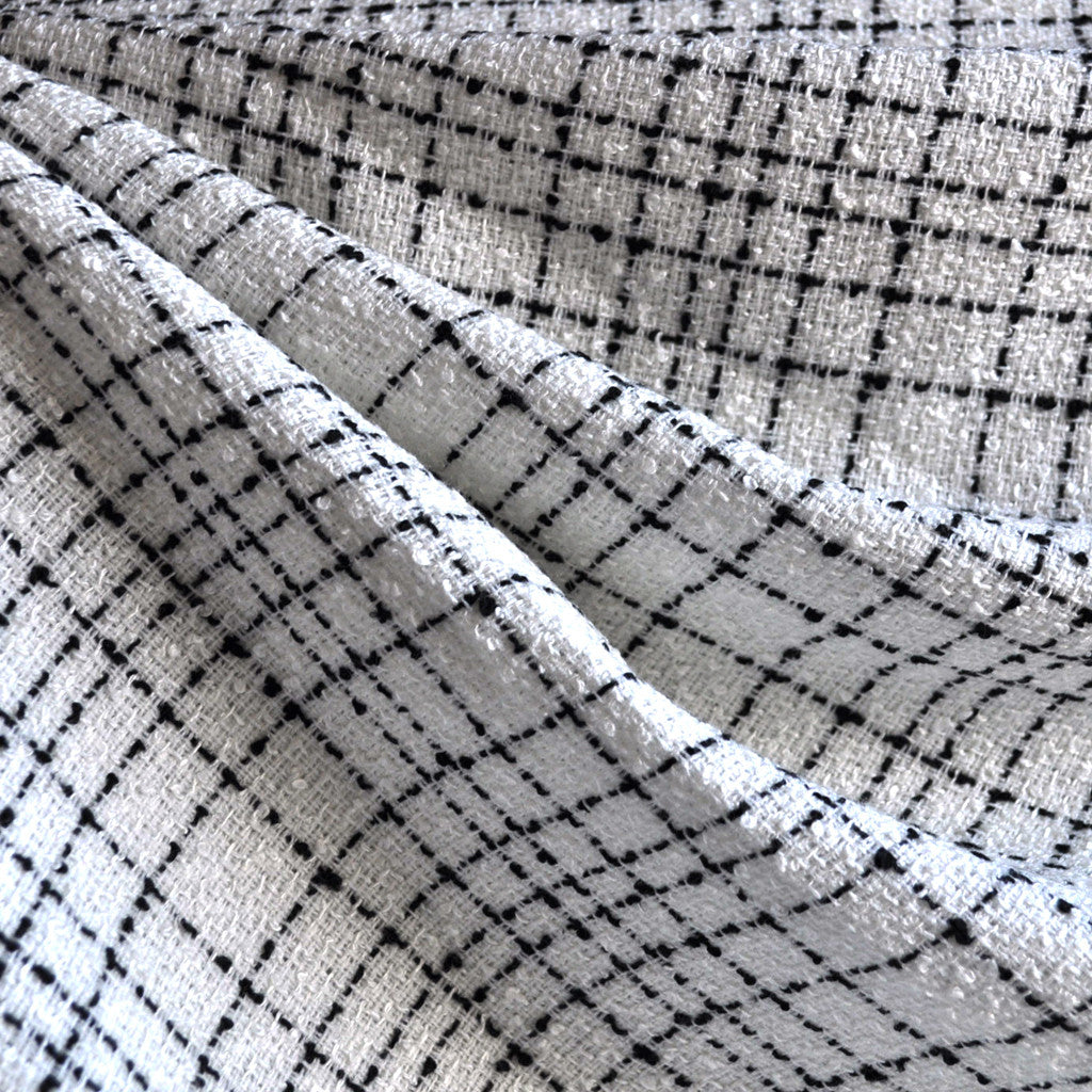 Plaid Boucle White/Black - Fabric - Style Maker Fabrics