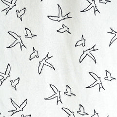 Crepon Soaring Birds White/Black - Sold Out - Style Maker Fabrics
