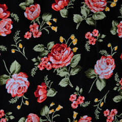 Peachskin Floral Print Black/Coral - Fabric - Style Maker Fabrics