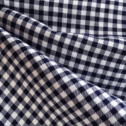 Linen Blend Check Navy/Cream