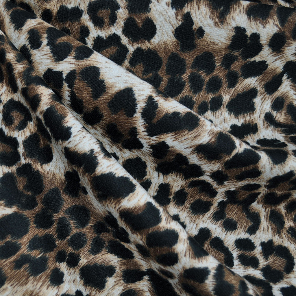 Ponte Knit Leopard Print Brown/Natural - Sold Out - Style Maker Fabrics