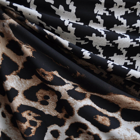 Leopard/Houndstooth Print ITY Knit Brown/Black