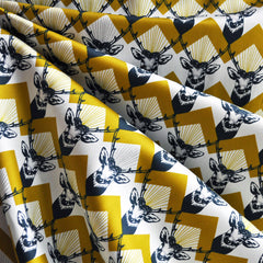Echino Cotton Sateen Stags Mustard - Sold Out - Style Maker Fabrics