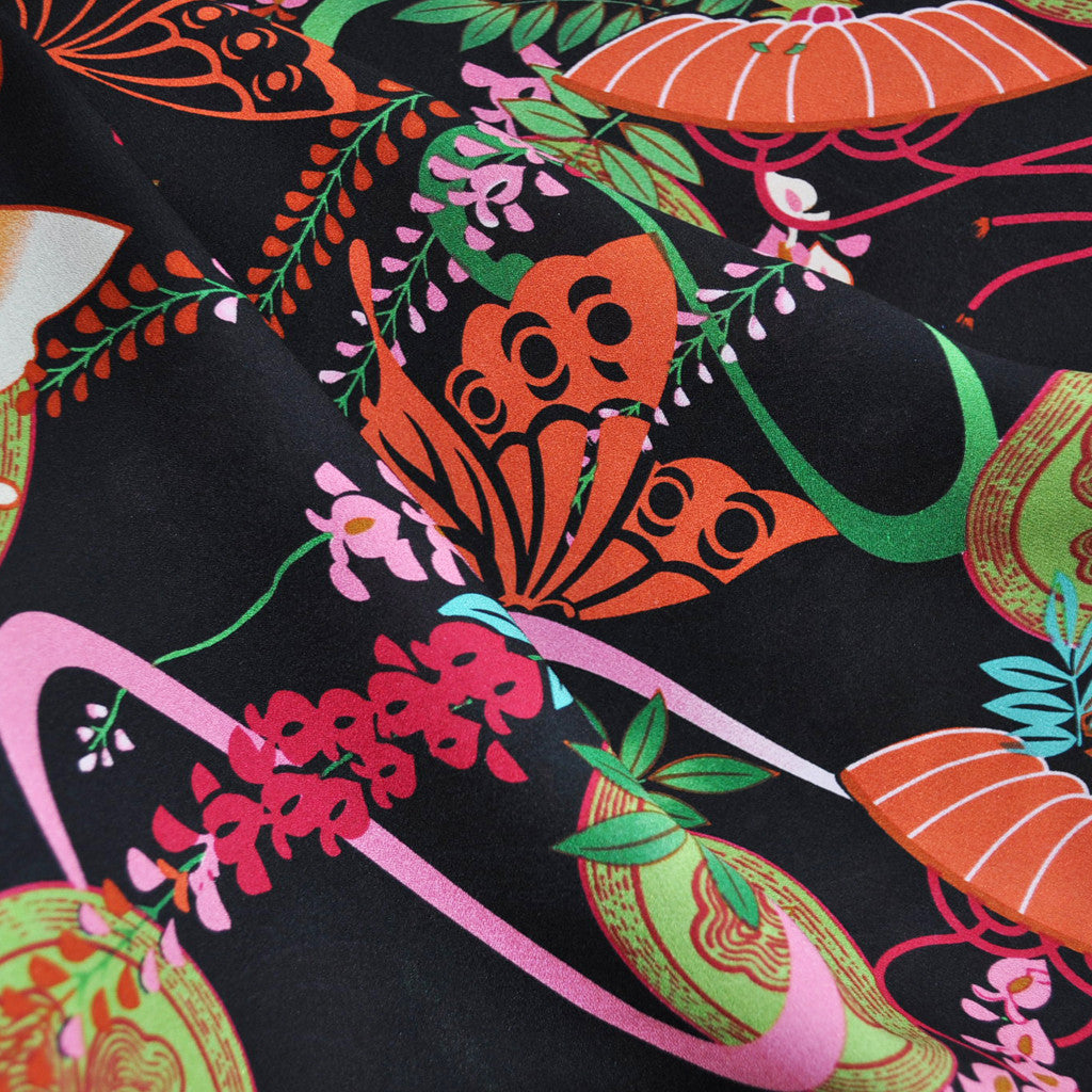 Asian Inspired Butterfly Silk Crepe Black/Multi - Sold Out - Style Maker Fabrics