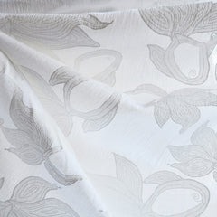 Cotton Gauze Leaf Print White/White - Sold Out - Style Maker Fabrics