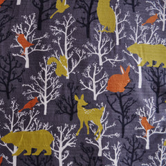 Hokkoh Cotton Barkcloth Woodland Creatures Taupe - Sold Out - Style Maker Fabrics