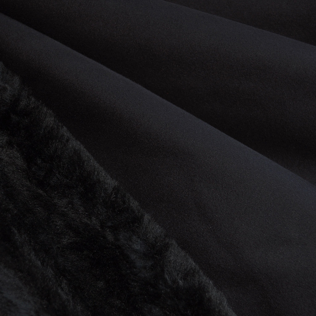 Reversible Suede/Fur Black SY - Sold Out - Style Maker Fabrics
