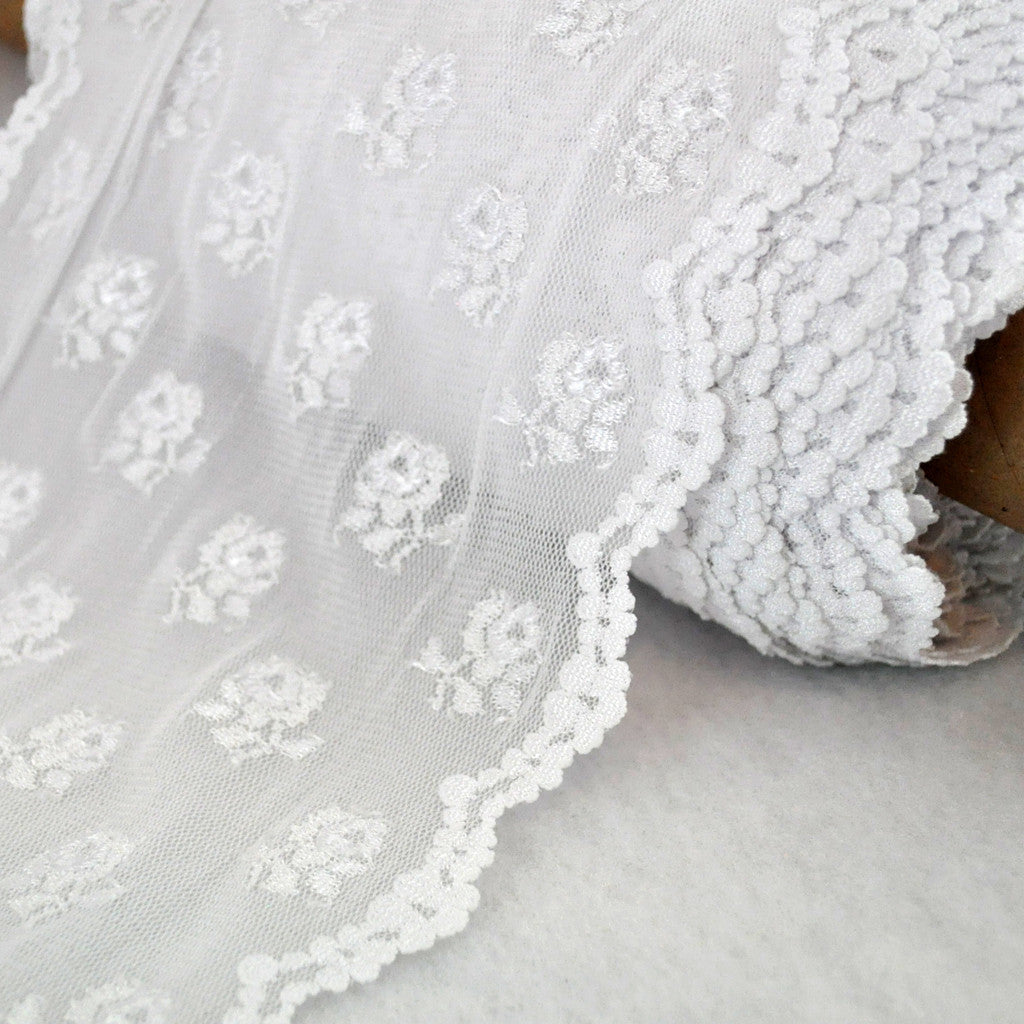 Stretch Lace Rose Trim 8 inch - Sold Out - Style Maker Fabrics