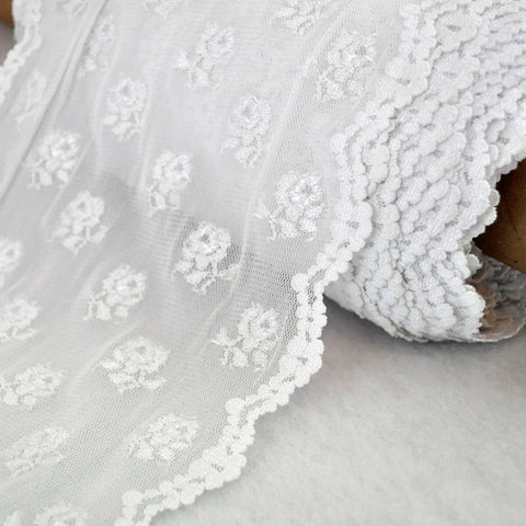 Stretch Lace Rose Trim 8 inch