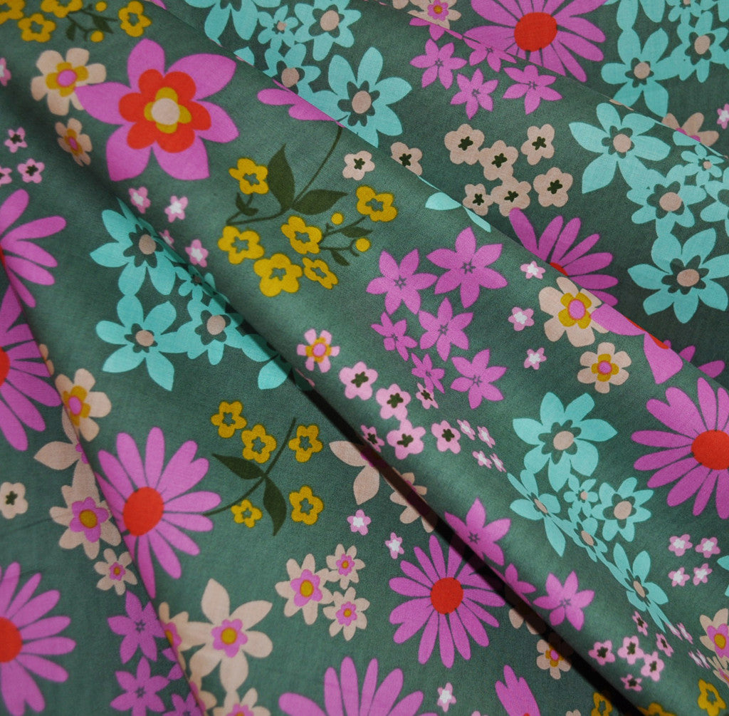 Vintage Floral Lawn Aqua - Sold Out - Style Maker Fabrics