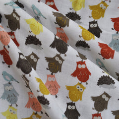 Kokka Animal Runaway Double Gauze White - Sale - Style Maker Fabrics