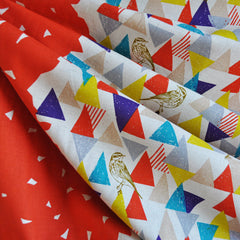 Echino Shirting Triangles and Birds Orange - Sold Out - Style Maker Fabrics