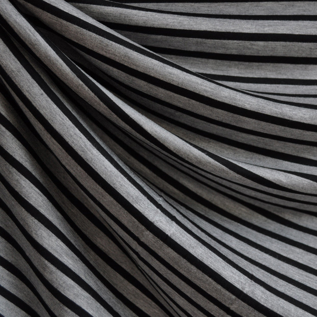 Jersey Knit Pencil Stripe Grey/Black SY - Sold Out - Style Maker Fabrics