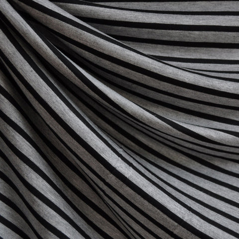 Jersey Knit Pencil Stripe Grey/Black
