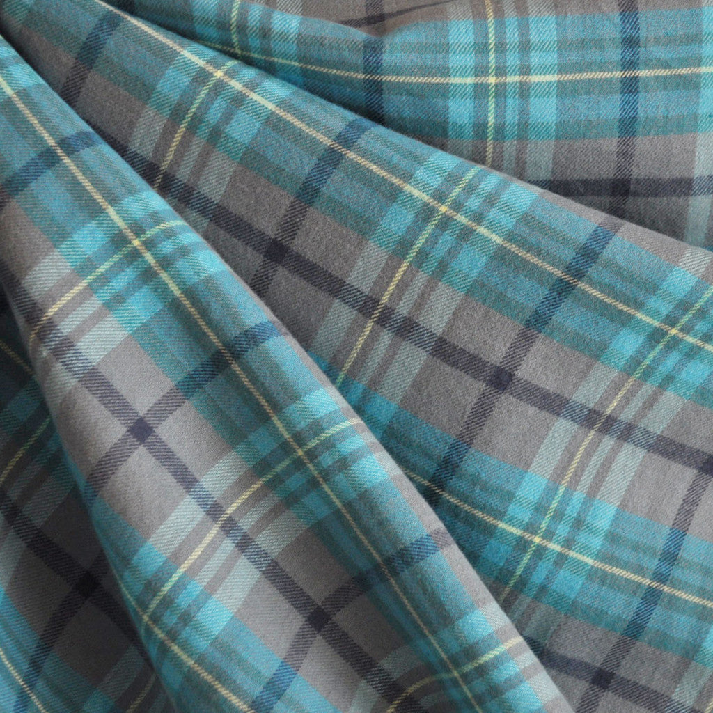 Flannel Shirting Plaid Turquoise/Grey - Sold Out - Style Maker Fabrics