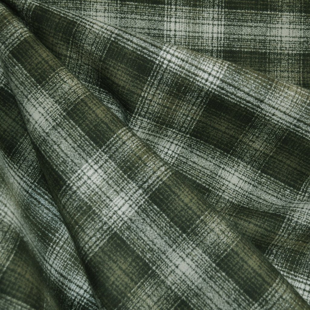 Mammoth Flannel Plaid Olive/Cream - Fabric - Style Maker Fabrics