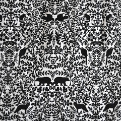 Cotton Lawn Forest Animals Wood Cut Black/White - Fabric - Style Maker Fabrics