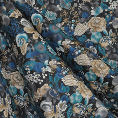 Wonder Forest Cotton Lawn Floral Aqua - Fabric - Style Maker Fabrics