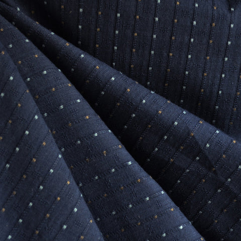 Woven Shirting Stripe Dot Navy