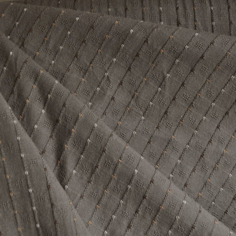 Woven Shirting Stripe Dot Taupe