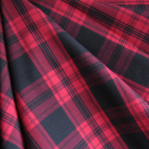 Stretch Suiting Plaid Red/Black SY