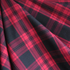 Stretch Suiting Plaid Red/Black SY - Sold Out - Style Maker Fabrics