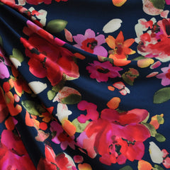 Large Painted Floral ITY Knit Navy/Fuchsia - Sold Out - Style Maker Fabrics