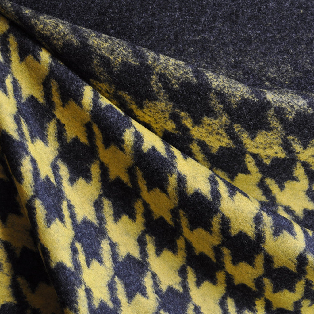 Ombre Houndstooth Wool Blend Knit Mustard/Charcoal - Sold Out - Style Maker Fabrics