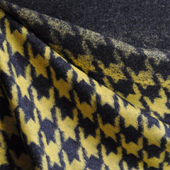 Ombre Houndstooth Wool Blend Knit Mustard/Charcoal - Fabric - Style Maker Fabrics