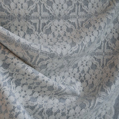 Lace Overlaid Sweater Knit Light Grey/Cream - Sold Out - Style Maker Fabrics