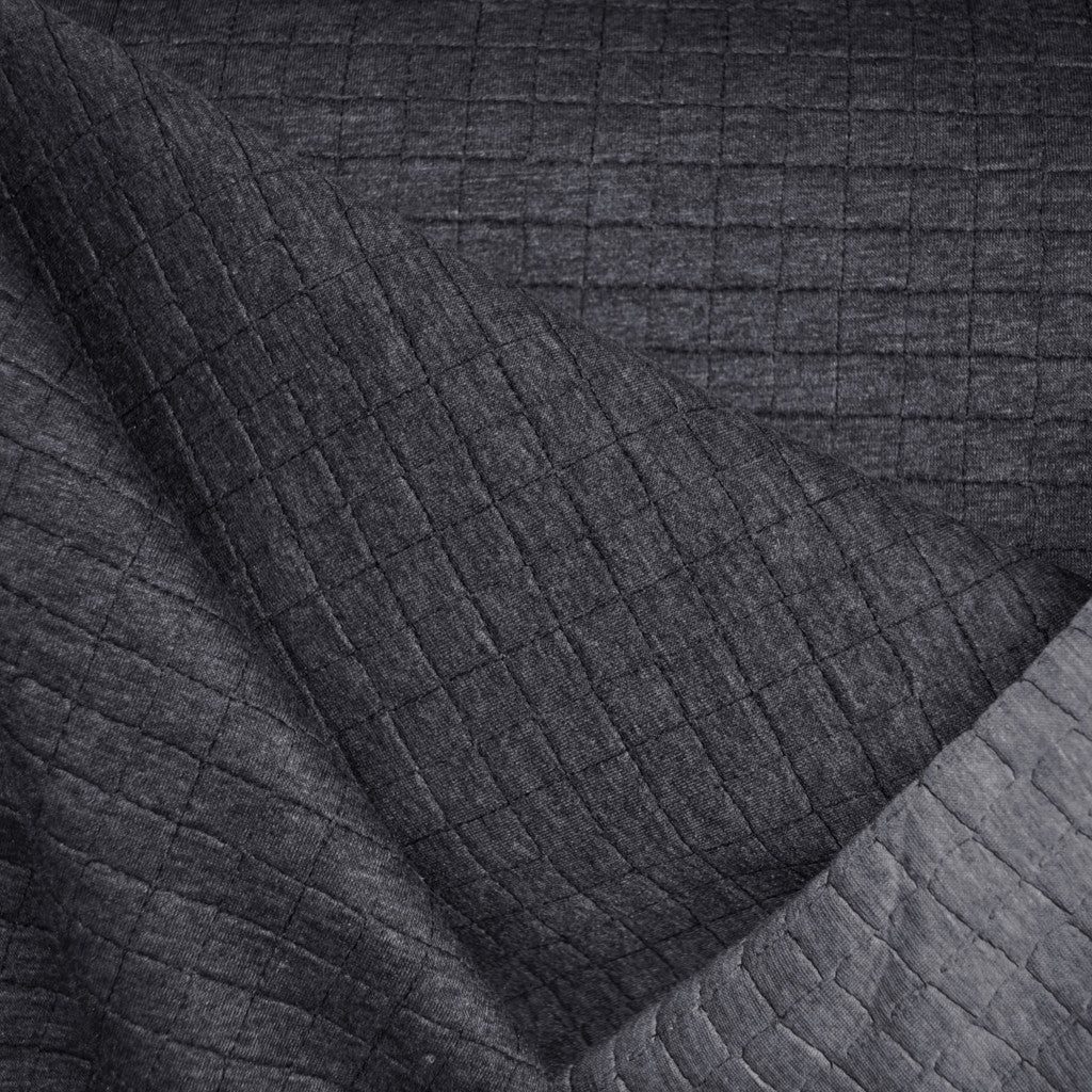 Reversible Quilted Knit Charcoal/Light Grey - Sold Out - Style Maker Fabrics