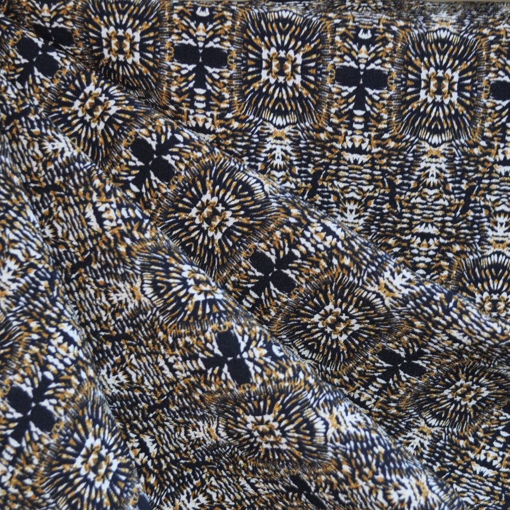 Rayon Crepe Burst Print Navy/Goldenrod SY - Sold Out - Style Maker Fabrics