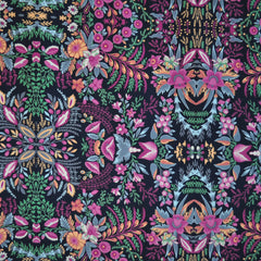 Poly Crepe Print Damask Floral Navy/Fuchsia - Sold Out - Style Maker Fabrics